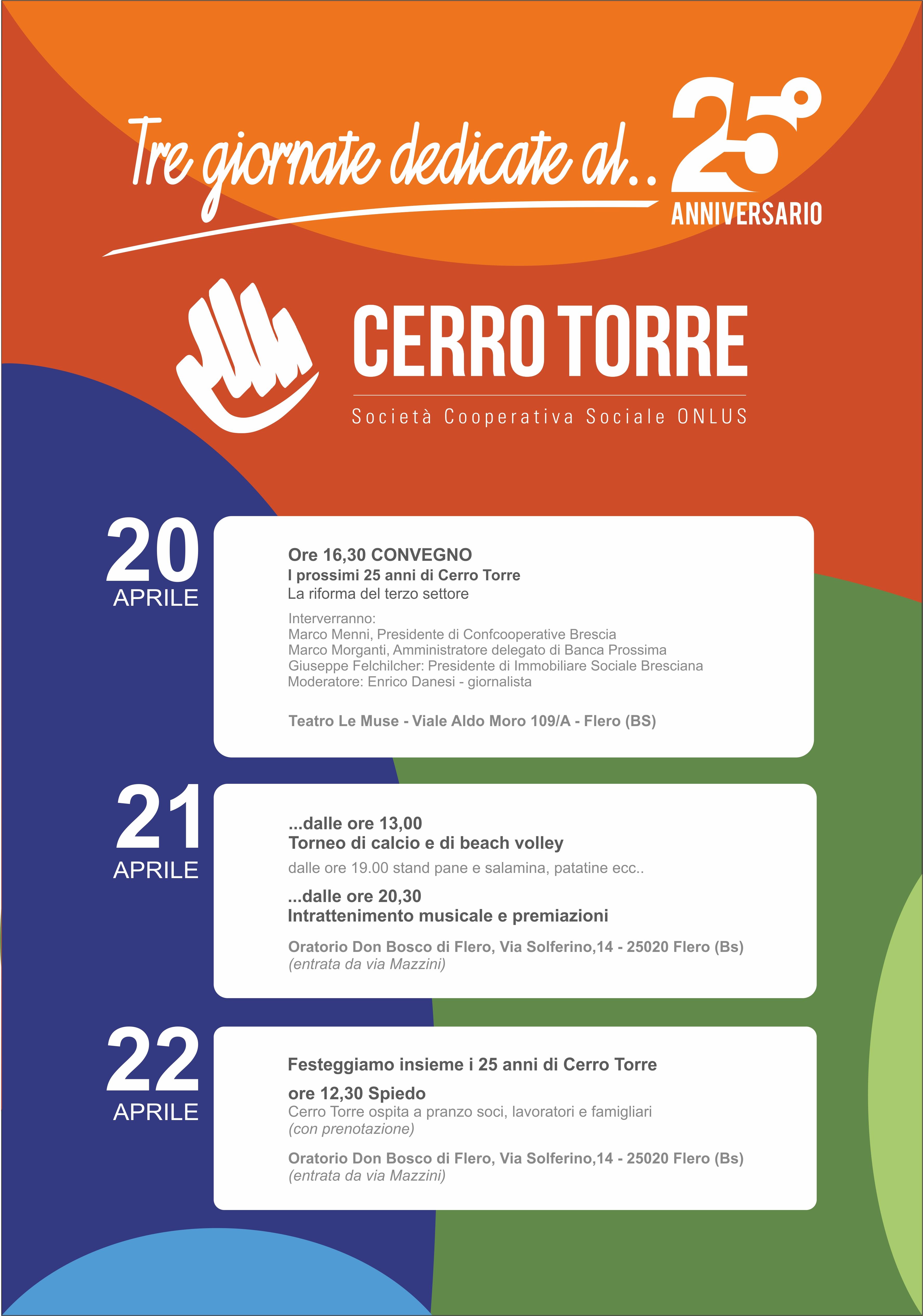 locandina 3 giorni 25° anniversario Cerro Torre